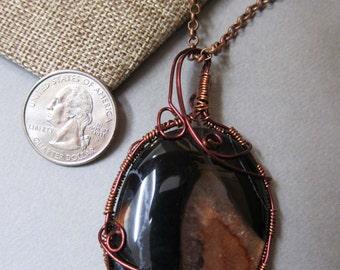 Beautiful Rose Quartz Pendant Wire Wrap with non tarnish copper wire.