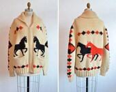 Vintage 1950s NOVELTY knit unisex cardigan