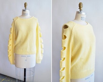 Vintage CUTOUT banana yellow pullover