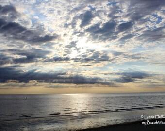Beach Sunrise Photo- Breaking Dawn, beach photography, coastal photo, calming wall art, living room décor, clouds, ocean photo print, beach