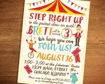 Circus Carnival Birthday Invitation (Printable PDF)