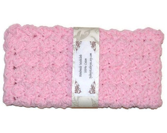 Fancy Face Cloth, Spa Washcloth, Crocheted Wash Cloth, Spa Facewasher Pink
