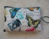 butterfly vintage paris travel print padded zipper bag