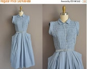 r e s e r v e d... 50s blue cotton fun skirt vintage dress / vintage 1950s dress