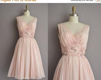 25% off SHOP SALE... 50s gorgeous pink chiffon romantic beaded lace vintage dress / vintage 1950s dress
