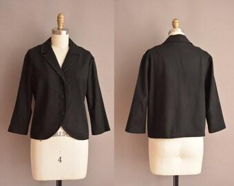 50s black wool vintage jacket / vintage 1950s jacket