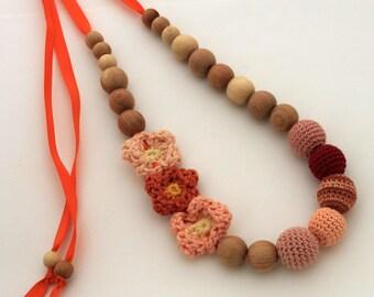 Orange Peach Nursing Necklace / Teething necklace / Flower Necklace