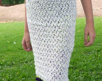 Girls crochet skirt size 4 white green purple tulips pencil skirt straight buttons clothing feminine spring fashion knee length cotton