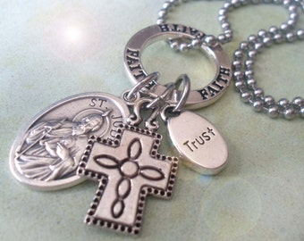 St. Jude Amulet, Patron Saint of Lost Causes, Desperate Situations, Wonder Worker, Believe in Miracles,  Holy Medal Charm Necklace