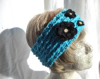 Teal Blue Crocheted earwarmer