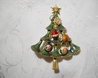 Enamel Christmas tree Brooch Pin with Enameled Ball Ordaments