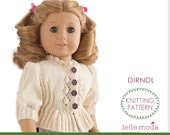 Dirndl Cardigan for 18 inch doll,  Knitting pattern, Clothes,  Doll clothes,   for  American Girl dolls