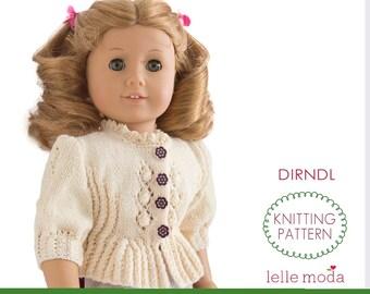 Doll Clothes Knitting Pattern, 18 inch Doll Clothes,  Doll Summer Dirndl Cardigan,  fits 18 inch dolls like American Girl