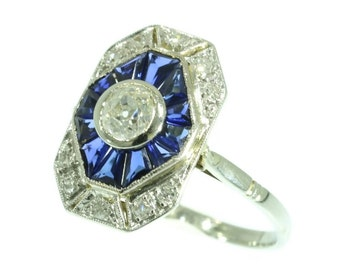 Art Deco Sapphire Ring - French Art Deco white gold and platinum sapphire diamond ring circa 1920