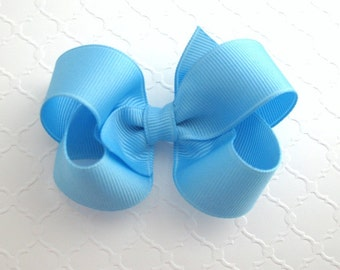 "Sky Blue 3"" Boutique Hair Bow ~ School Uniform Hair Bow ~ Flower Girls Hair Bow ~ Toddler Girl Hair Bows"