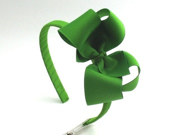 St Patrick's Day Green Girls Bow Headband, Toddler Headband, Bow on Hard Headband