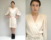 80s Sheer Dress  // Pleated Wrap Dress  //   THE MATILDA