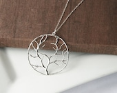 Long Necklace,Silver Necklace,Dainty Necklace,Layering Necklace,Delicate Necklace,Layered Necklace,Layer Necklace,Tree Pendant