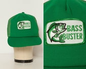 vintage 70s 80s snapback trucker hat cap Bass Buster fishing