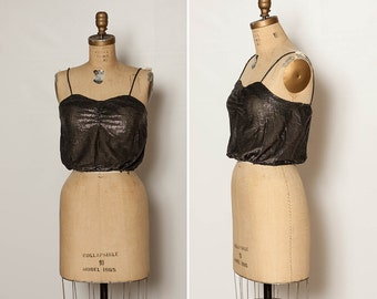 vintage 70s metallic disco crop top