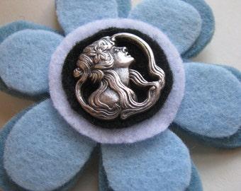 Felt Button Pin    Blue Brooch  Large pin