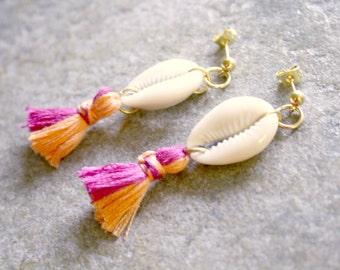 Cowrie Shell Two Toned Tassel Earrings Pink Tangerine Orange Beach Jewelry