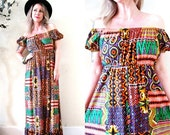 BIG ASS SALE Sale vintage 60's 70's tribal ethnic patchwork print maxi dress / off shoulder empire waist / festival hippie boho