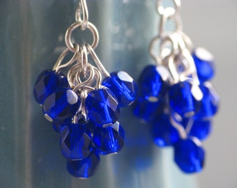 Cobalt Berry Earrings - Glass Cluster Earrings in Dark Blue and Silver