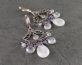 Moonstone & tanzanite chandelier earrings, handmade sterling silver filigree-OOAK silver jewelry