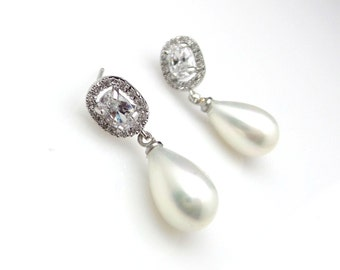 wedding jewelry bridal earrings bridesmaid gift christmas prom teardrop pear off white shell pearl earrings cubic zirconia deco oval post