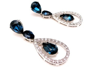 bridal earrings wedding jewelry christmas party bridesmaid gift prom navy montana crystal teardrop cubic zirconia rhodium post earrings