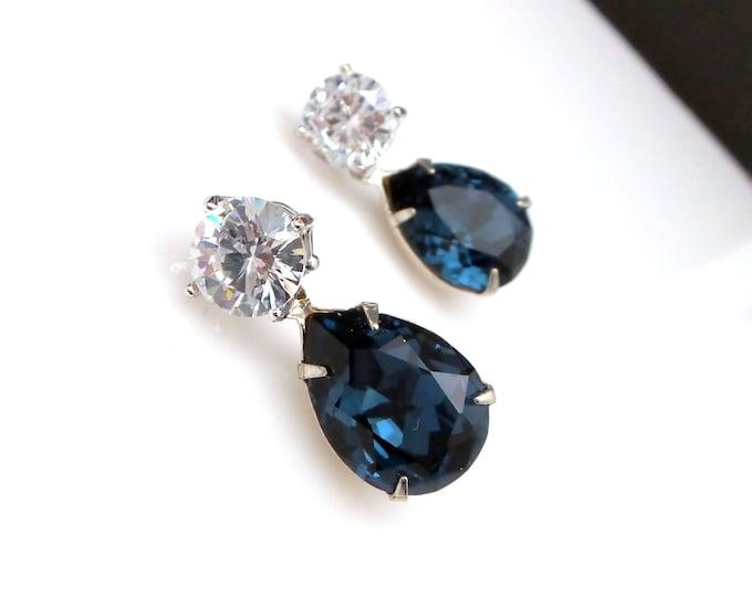 bridesmaid gift earrings christmas prom bridal wedding Swarovski AAA cubic zirconia round stud montana navy blue teardrop crystal rhinestone