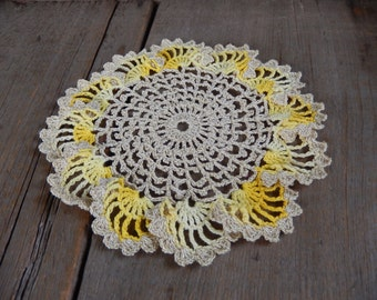 Vintage Doily Romantic Cottage Chic Decor Handmade Yellow and Metallic Gold Kitchen or Nursery Decor