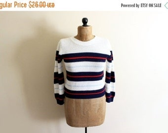 50% OFF SALE vintage sweater striped nautical 80s navy blue red white retro 1980s womens clothing size s m small medium