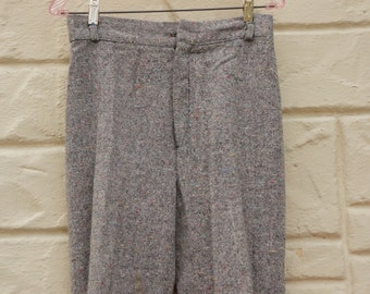 Vintage Women's 70s-80s High Waisted Wide Leg Tweed Pants Retro Hipster Boho