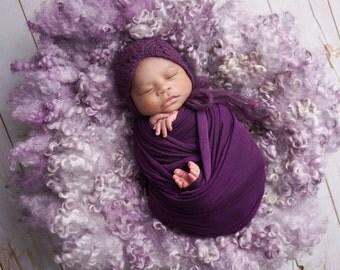 Knit Newborn Baby Bonnet, Shannon Leigh Bonnet, Newborn Photo Shoot Prop by Cream of the Prop