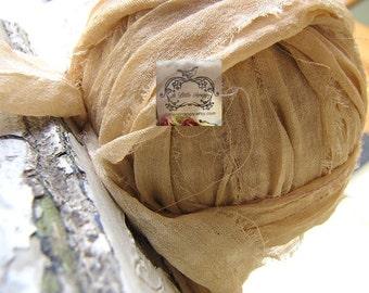 Soft Camel Cream Small Check Pattern Silk Chiffon Ribbon