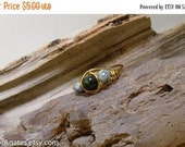 On Sale Wire Wrapped Brass Green Quartz & Green Tree Agate Pinky Finger Toe Ring size 6