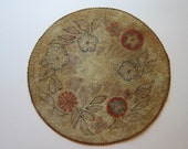 RESERVED for michelle - antique hooked doll house rug, 10 inches - doilly, mat - round dollhouse rug