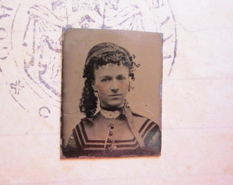 antique miniature GEM tintype photo - curly hair girl with chain fob, late 1800s - gte91