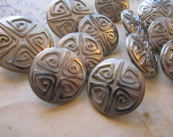 12 metal buttons - 17mm and 22mm - antiqued silver tone, primitive spiral