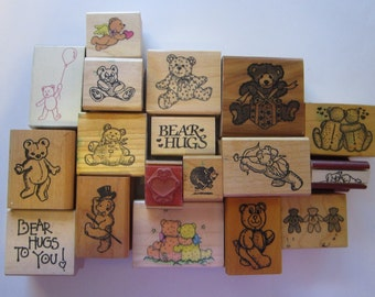 18 vintage rubber stamps - TEDDY BEARS - teddy bear stamps - PSX, Asya graphics, Hero Arts and more