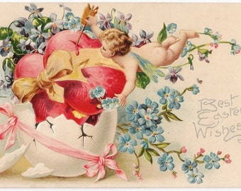 Cupid with Spring Flowers - Antique Easter Postcard - Easter, Easter Postcards, Easter Cards, Cupids, Hearts, Forget-Me-Nots, Ephemera