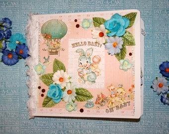 Baby Boy  Prima Heaven Sent 8x9 Premade Binder Scrapbook Album