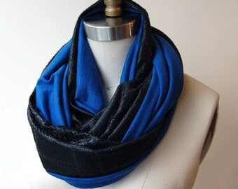 SALE! Circle Scarf Black Faux Leather with Cobalt