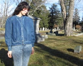 80s puff sleeve jean jacket - denim coat - size L