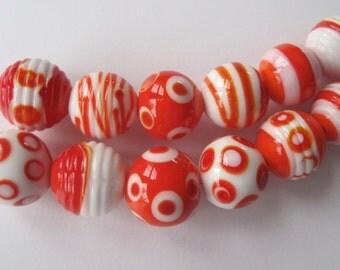 COUSINS - 6 Handmade Lampwork Glass Beads - Inv138-H2
