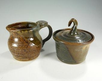 Ceramic creamer and sugar bowl set, cream pitcher and sugar bowl set, pottery cream and sugar set, cream and sugar set green and brown glaze
