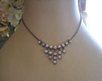 FREE SHIP Vintage Rhinestone Brass Drop Rhinestone Necklace