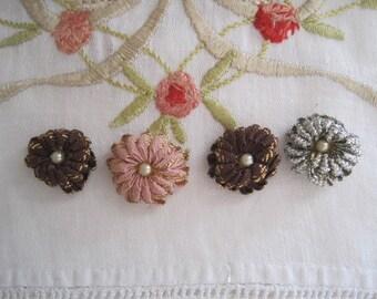 FREE SHIP Vintage Lot of 4 Ribbon Art Work Flowers Floral Applique